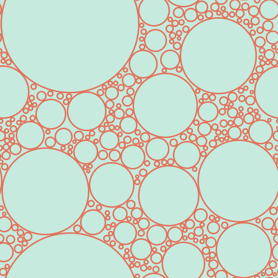 bubbles, circles, sponge, big, medium, small, 3 pixel line width, Terra Cotta and Mint Tulip circles bubbles sponge soap seamless tileable