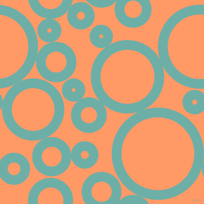 bubbles, circles, sponge, big, medium, small, 33 pixel line width, Tradewind and Atomic Tangerine circles bubbles sponge soap seamless tileable