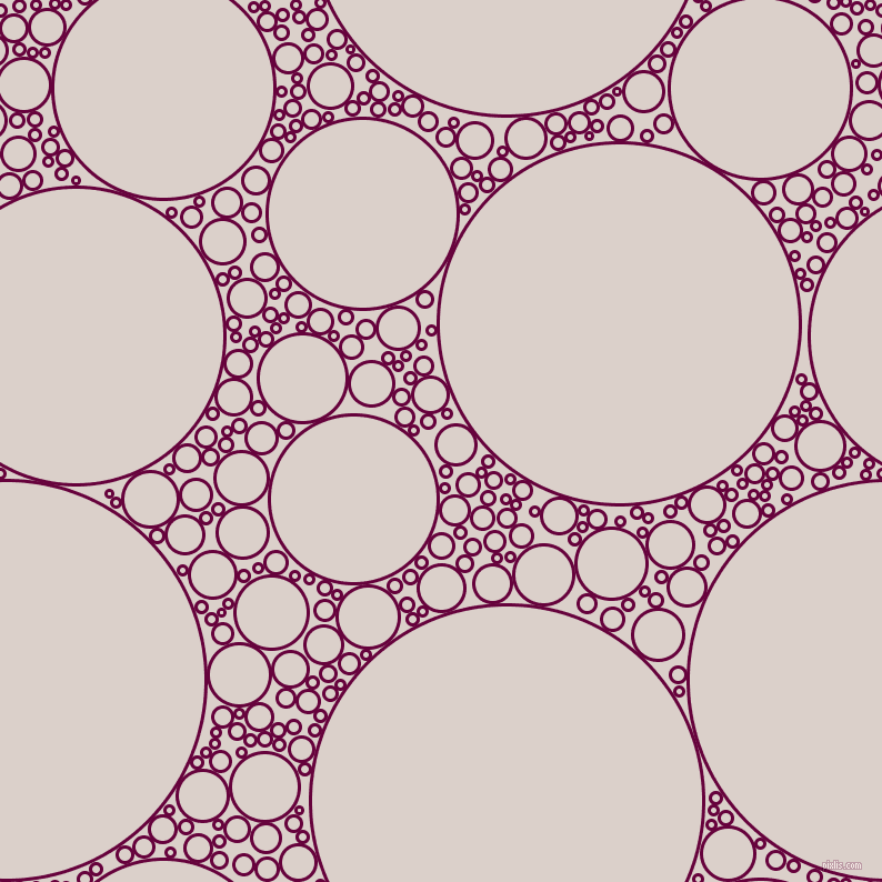bubbles, circles, sponge, big, medium, small, 3 pixel line width, Tyrian Purple and Swiss Coffee circles bubbles sponge soap seamless tileable