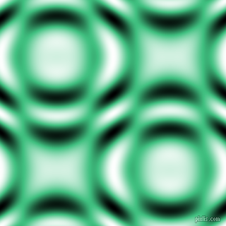 , Medium Sea Green and Black and White circular plasma waves seamless tileable