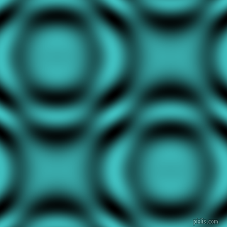 , Medium Turquoise and Black and White circular plasma waves seamless tileable
