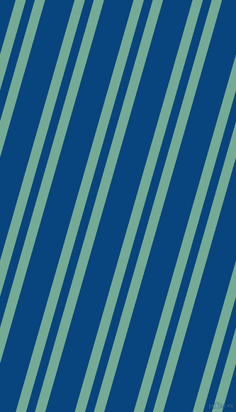74 degree angle dual stripe line, 14 pixel line width, 12 and 40 pixel line spacing, Acapulco and Dark Cerulean dual two line striped seamless tileable