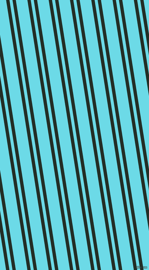 99 degree angle dual striped line, 11 pixel line width, 10 and 38 pixel line spacing, Black Bean and Turquoise Blue dual two line striped seamless tileable