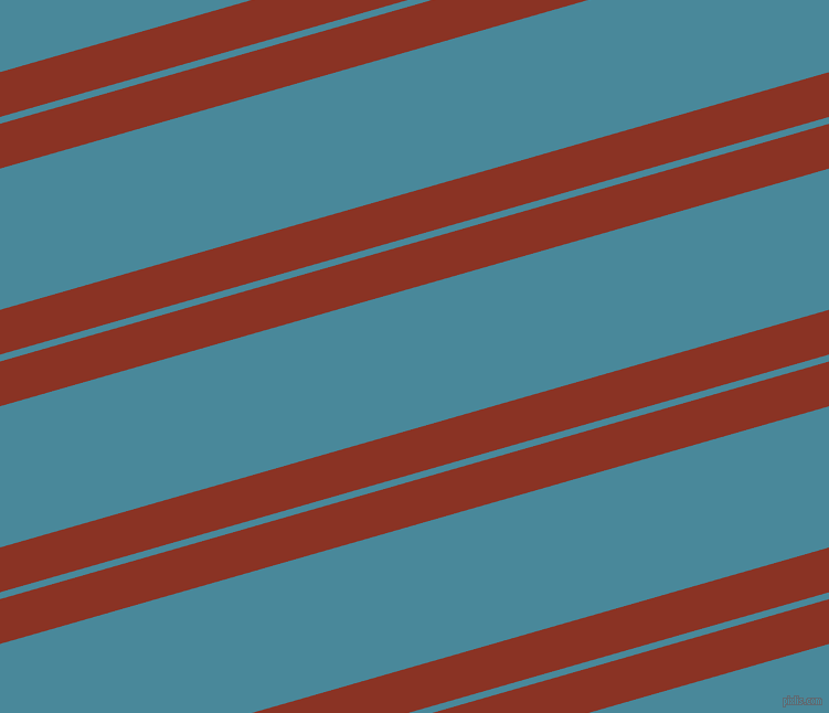 16 degree angles dual stripe lines, 39 pixel lines width, 6 and 123 pixels line spacing, Burnt Umber and Hippie Blue dual two line striped seamless tileable