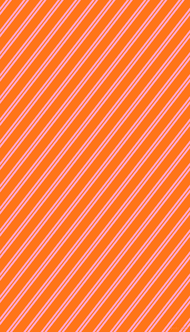 52 degree angle dual striped line, 4 pixel line width, 2 and 18 pixel line spacing, Carnation Pink and Pumpkin dual two line striped seamless tileable