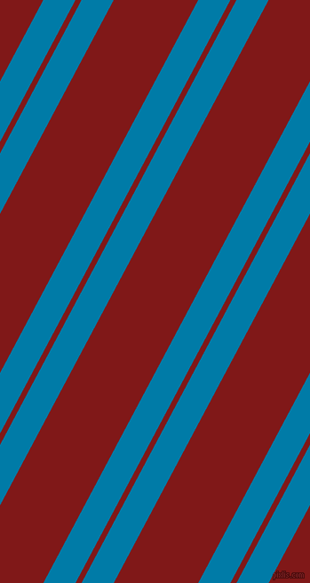 62 degree angle dual stripe lines, 32 pixel lines width, 6 and 84 pixel line spacing, Cerulean and Falu Red dual two line striped seamless tileable