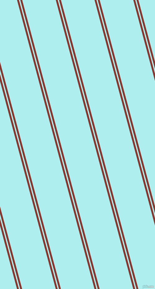 105 degree angles dual stripes line, 6 pixel line width, 4 and 104 pixels line spacing, Crab Apple and Pale Turquoise dual two line striped seamless tileable