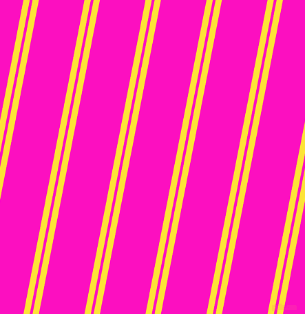 79 degree angle dual striped lines, 9 pixel lines width, 4 and 65 pixel line spacing, Gorse and Shocking Pink dual two line striped seamless tileable