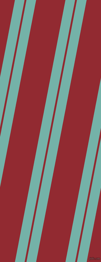 79 degree angle dual stripe lines, 31 pixel lines width, 6 and 94 pixel line spacing, Gulf Stream and Bright Red dual two line striped seamless tileable
