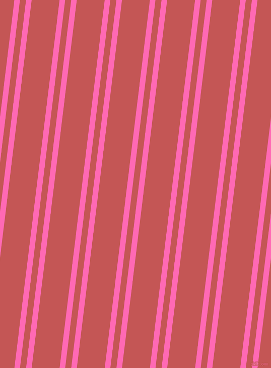 83 degree angles dual stripe line, 11 pixel line width, 12 and 55 pixels line spacing, Hot Pink and Fuzzy Wuzzy Brown dual two line striped seamless tileable