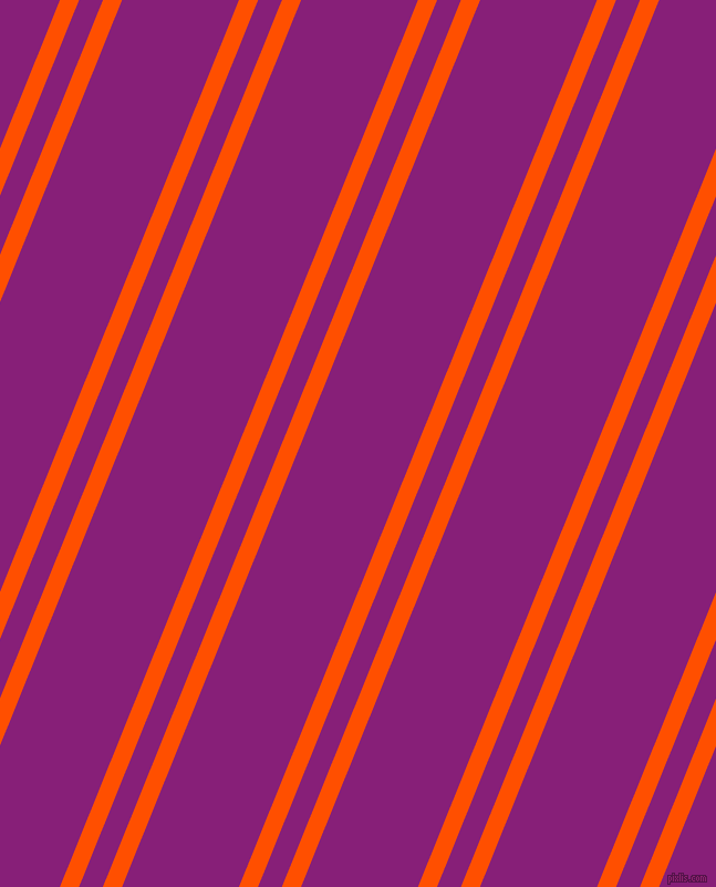 68 degree angle dual striped line, 16 pixel line width, 20 and 98 pixel line spacing, International Orange and Dark Purple dual two line striped seamless tileable