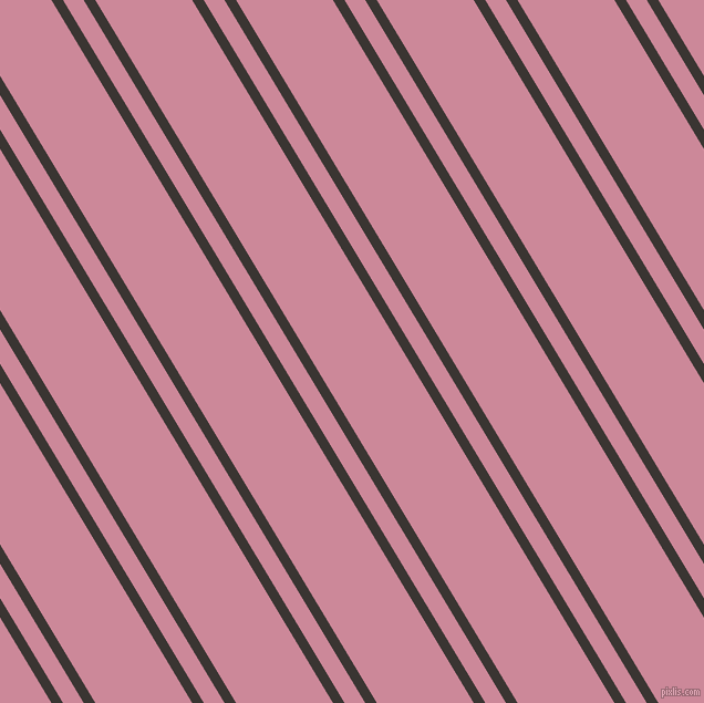 121 degree angles dual stripes line, 9 pixel line width, 16 and 75 pixels line spacing, Kilamanjaro and Puce dual two line striped seamless tileable