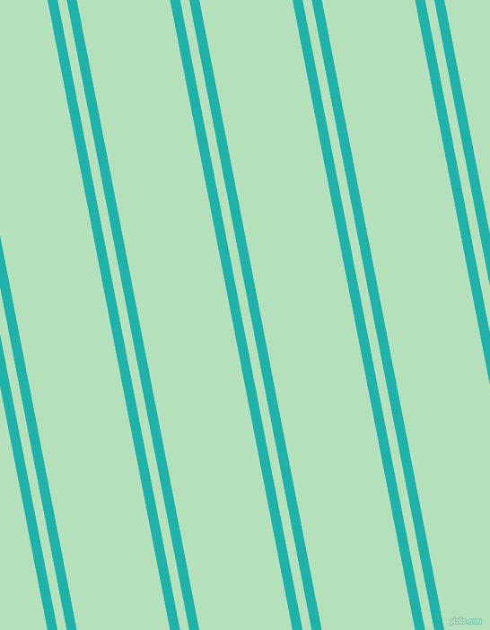 101 degree angles dual stripe lines, 11 pixel lines width, 10 and 102 pixels line spacing, Light Sea Green and Fringy Flower dual two line striped seamless tileable