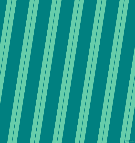 81 degree angles dual stripes lines, 18 pixel lines width, 2 and 53 pixels line spacing, Medium Aquamarine and Teal dual two line striped seamless tileable