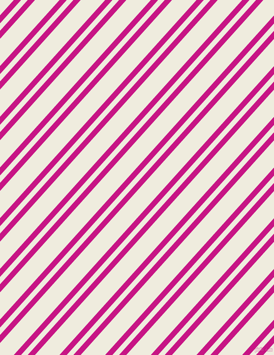 48 degree angles dual stripes line, 11 pixel line width, 10 and 37 pixels line spacing, Medium Violet Red and Rice Cake dual two line striped seamless tileable