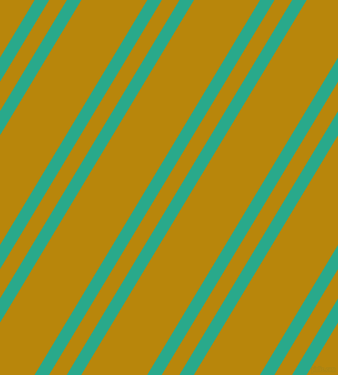 59 degree angle dual striped lines, 18 pixel lines width, 22 and 82 pixel line spacing, Niagara and Dark Goldenrod dual two line striped seamless tileable