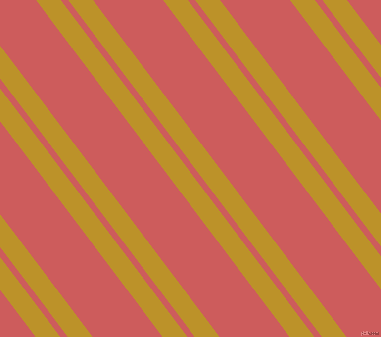 127 degree angles dual striped lines, 40 pixel lines width, 12 and 113 pixels line spacing, Nugget and Indian Red dual two line striped seamless tileable