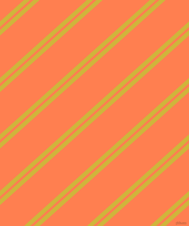 42 degree angle dual stripe lines, 14 pixel lines width, 8 and 108 pixel line spacing, Old Gold and Coral dual two line striped seamless tileable