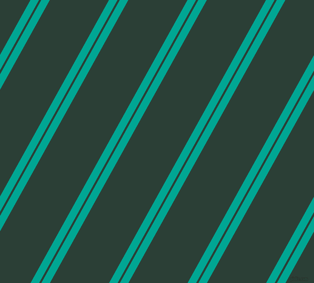 61 degree angles dual stripes line, 15 pixel line width, 4 and 104 pixels line spacing, Persian Green and Celtic dual two line striped seamless tileable