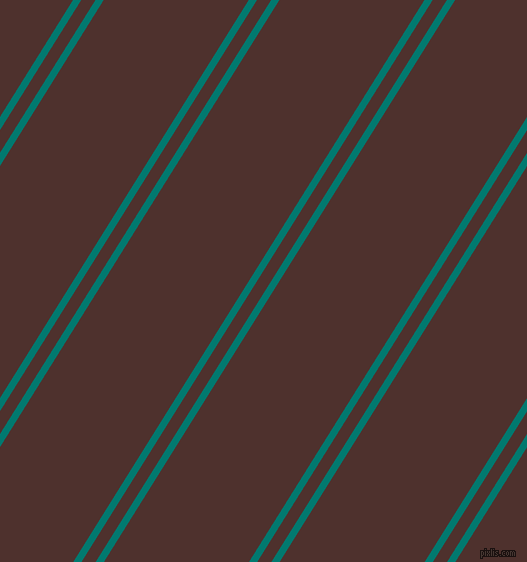 58 degree angle dual stripes line, 7 pixel line width, 12 and 123 pixel line spacing, Pine Green and Espresso dual two line striped seamless tileable
