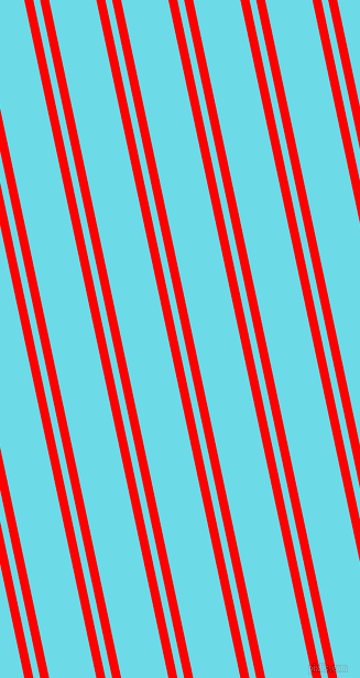 102 degree angle dual stripes line, 8 pixel line width, 6 and 42 pixel line spacing, Red and Turquoise Blue dual two line striped seamless tileable