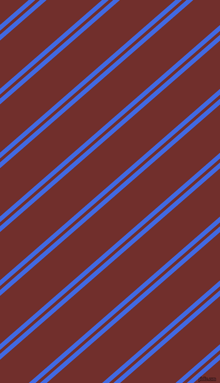 41 degree angle dual striped line, 9 pixel line width, 6 and 74 pixel line spacing, Royal Blue and Auburn dual two line striped seamless tileable