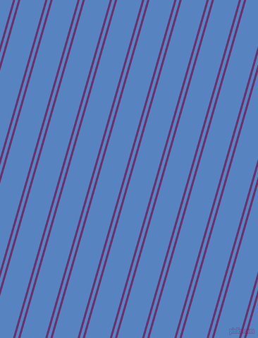74 degree angle dual stripes line, 3 pixel line width, 4 and 34 pixel line spacing, Seance and Havelock Blue dual two line striped seamless tileable