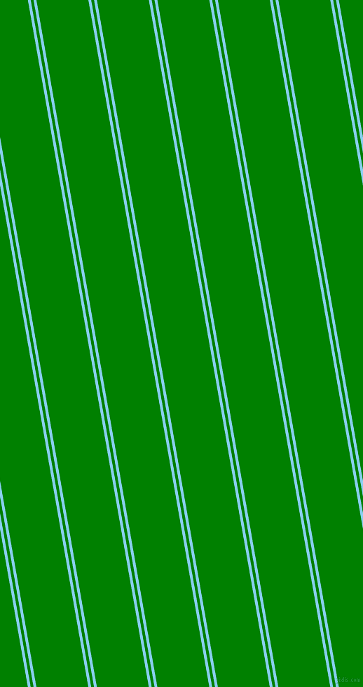 100 degree angle dual striped line, 4 pixel line width, 4 and 73 pixel line spacing, Sky Blue and Green dual two line striped seamless tileable