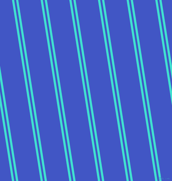 99 degree angles dual stripes lines, 7 pixel lines width, 6 and 71 pixels line spacing, Turquoise and Free Speech Blue dual two line striped seamless tileable