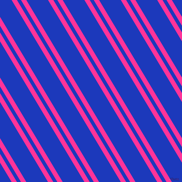 121 degree angle dual stripe lines, 16 pixel lines width, 12 and 65 pixel line spacing, Wild Strawberry and Persian Blue dual two line striped seamless tileable