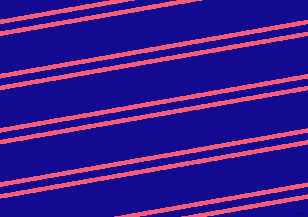 10 degree angles dual stripes lines, 15 pixel lines width, 24 and 125 pixels line spacing, Wild Watermelon and Ultramarine dual two line striped seamless tileable