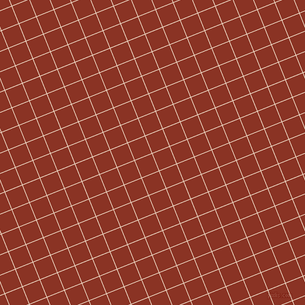 22/112 degree angle diagonal checkered chequered lines, 1 pixel line width, 26 pixel square size, Almond and Burnt Umber plaid checkered seamless tileable