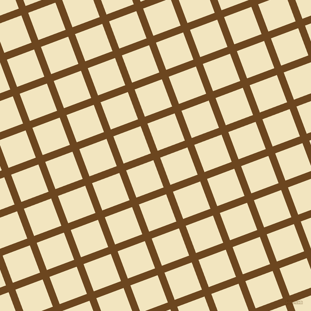 21/111 degree angle diagonal checkered chequered lines, 15 pixel line width, 60 pixel square size, Antique Brass and Half Colonial White plaid checkered seamless tileable
