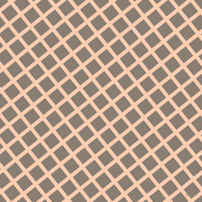 39/129 degree angle diagonal checkered chequered lines, 12 pixel line width, 39 pixel square size, Apricot and Americano plaid checkered seamless tileable