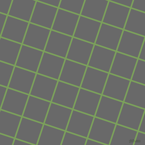 72/162 degree angle diagonal checkered chequered lines, 5 pixel lines width, 69 pixel square size, Asparagus and Dim Gray plaid checkered seamless tileable