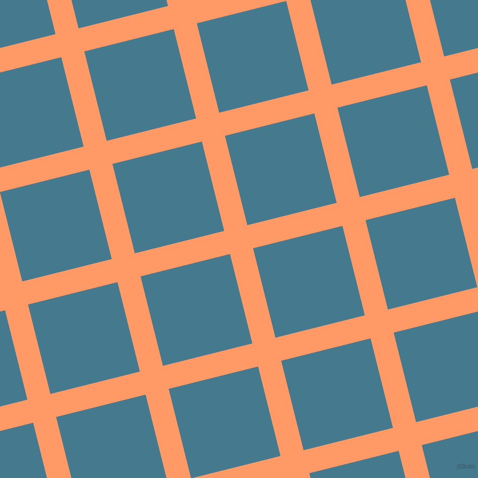 14/104 degree angle diagonal checkered chequered lines, 47 pixel lines width, 182 pixel square size, Atomic Tangerine and Jelly Bean plaid checkered seamless tileable