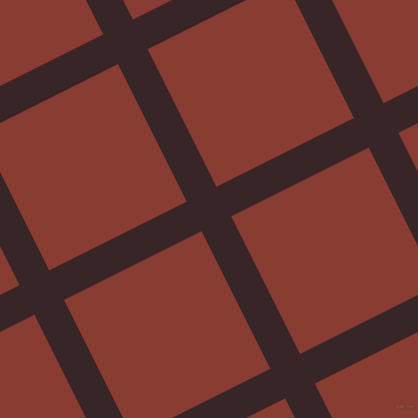 27/117 degree angle diagonal checkered chequered lines, 66 pixel lines width, 306 pixel square size, Aubergine and Prairie Sand plaid checkered seamless tileable