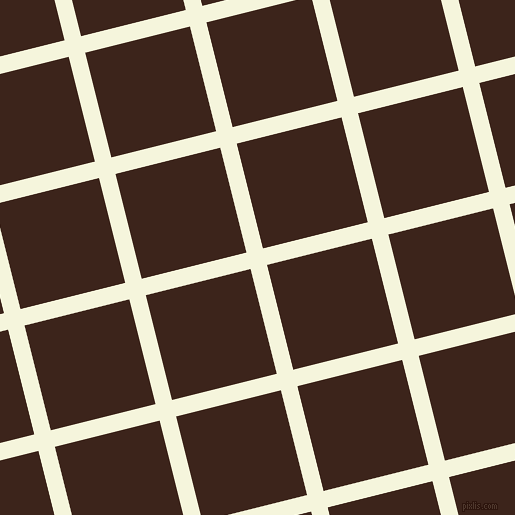 14/104 degree angle diagonal checkered chequered lines, 17 pixel line width, 108 pixel square size, Beige and Brown Pod plaid checkered seamless tileable