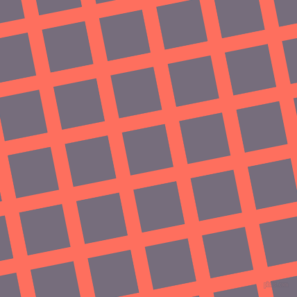 11/101 degree angle diagonal checkered chequered lines, 21 pixel line width, 63 pixel square size, Bittersweet and Mamba plaid checkered seamless tileable
