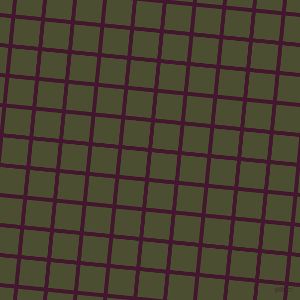 84/174 degree angle diagonal checkered chequered lines, 8 pixel line width, 52 pixel square size, Blackberry and Waiouru plaid checkered seamless tileable