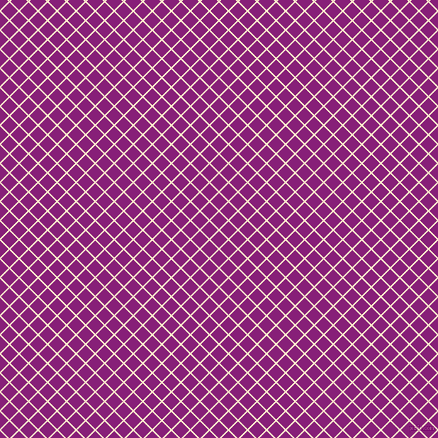 45/135 degree angle diagonal checkered chequered lines, 2 pixel lines width, 17 pixel square size, Blanched Almond and Dark Purple plaid checkered seamless tileable