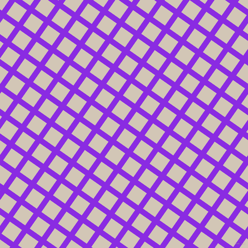 55/145 degree angle diagonal checkered chequered lines, 19 pixel line width, 50 pixel square size, Blue Violet and Stark White plaid checkered seamless tileable