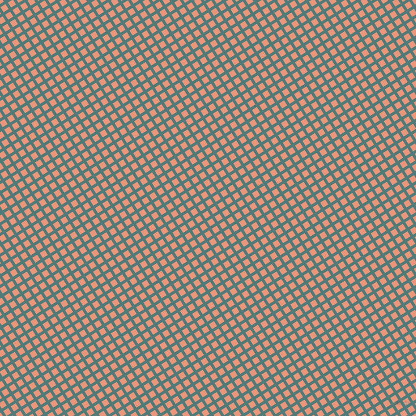 32/122 degree angle diagonal checkered chequered lines, 6 pixel line width, 12 pixel square size, Breaker Bay and Dark Salmon plaid checkered seamless tileable