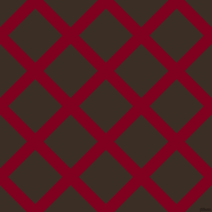 45/135 degree angle diagonal checkered chequered lines, 37 pixel line width, 123 pixel square size, Burgundy and Sambuca plaid checkered seamless tileable