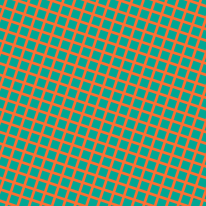 72/162 degree angle diagonal checkered chequered lines, 9 pixel lines width, 27 pixel square size, Burnt Orange and Persian Green plaid checkered seamless tileable