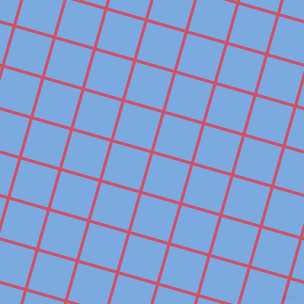 74/164 degree angle diagonal checkered chequered lines, 6 pixel line width, 76 pixel square size, Cabaret and Jordy Blue plaid checkered seamless tileable