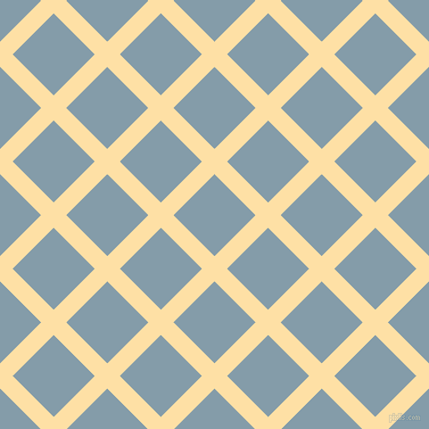 45/135 degree angle diagonal checkered chequered lines, 20 pixel lines width, 65 pixel square size, Cape Honey and Bali Hai plaid checkered seamless tileable