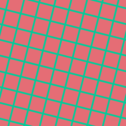 76/166 degree angle diagonal checkered chequered lines, 6 pixel line width, 47 pixel square size, Caribbean Green and Froly plaid checkered seamless tileable
