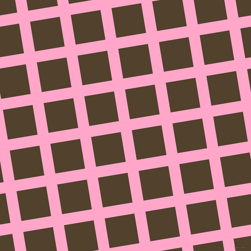 9/99 degree angle diagonal checkered chequered lines, 39 pixel line width, 105 pixel square size, Carnation Pink and Deep Bronze plaid checkered seamless tileable