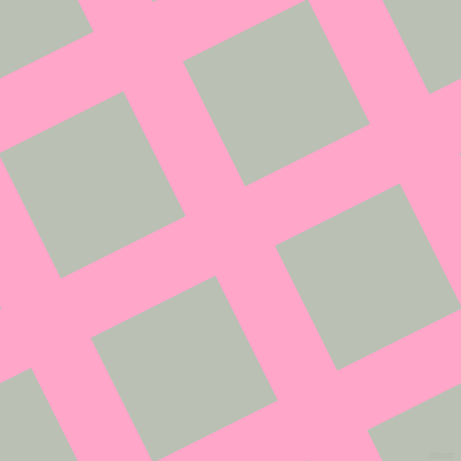 27/117 degree angle diagonal checkered chequered lines, 94 pixel lines width, 197 pixel square size, Carnation Pink and Pumice plaid checkered seamless tileable